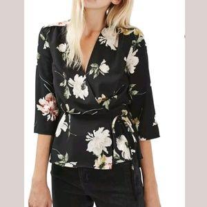 TOPSHOP Floral Wrap Blouse Kimono Sleeves Tie Top